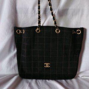Chanel Black Suede Quilted Drawstring Shoulder Bag